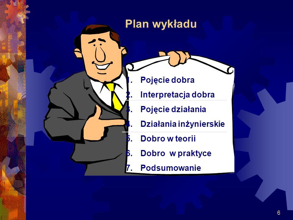 Plan wykładu Pojęcie dobra Interpretacja dobra Pojęcie działania
