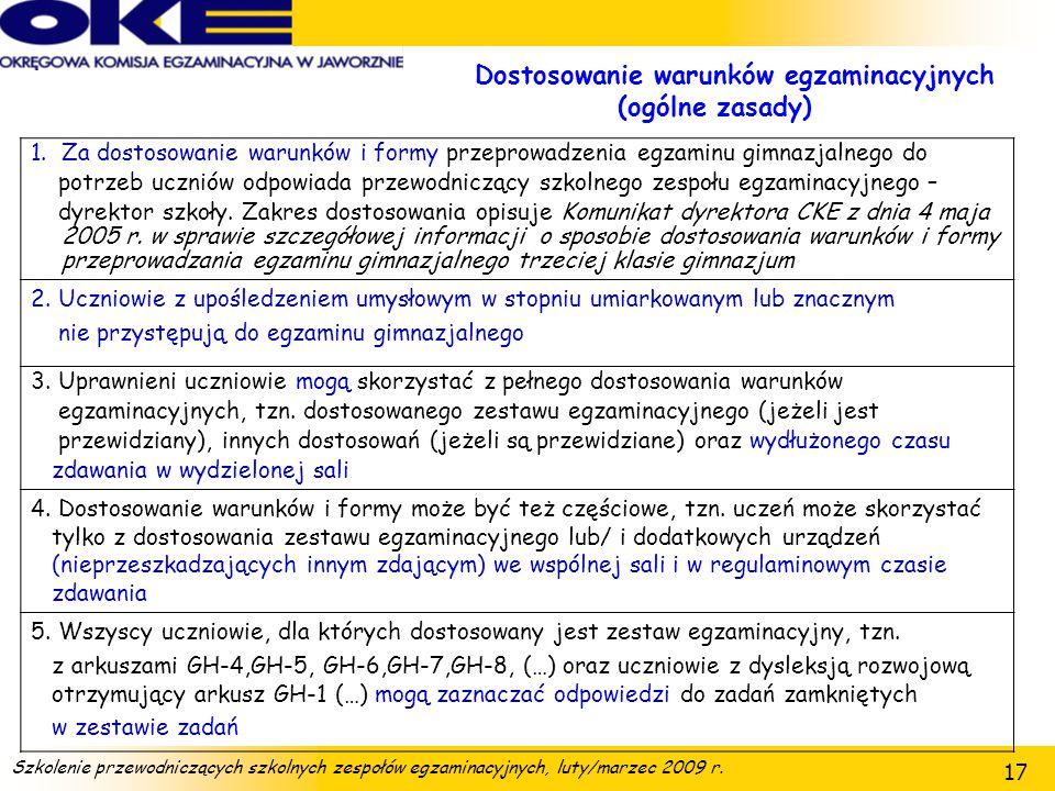 Dostosowanie warunków egzaminacyjnych (ogólne zasady)