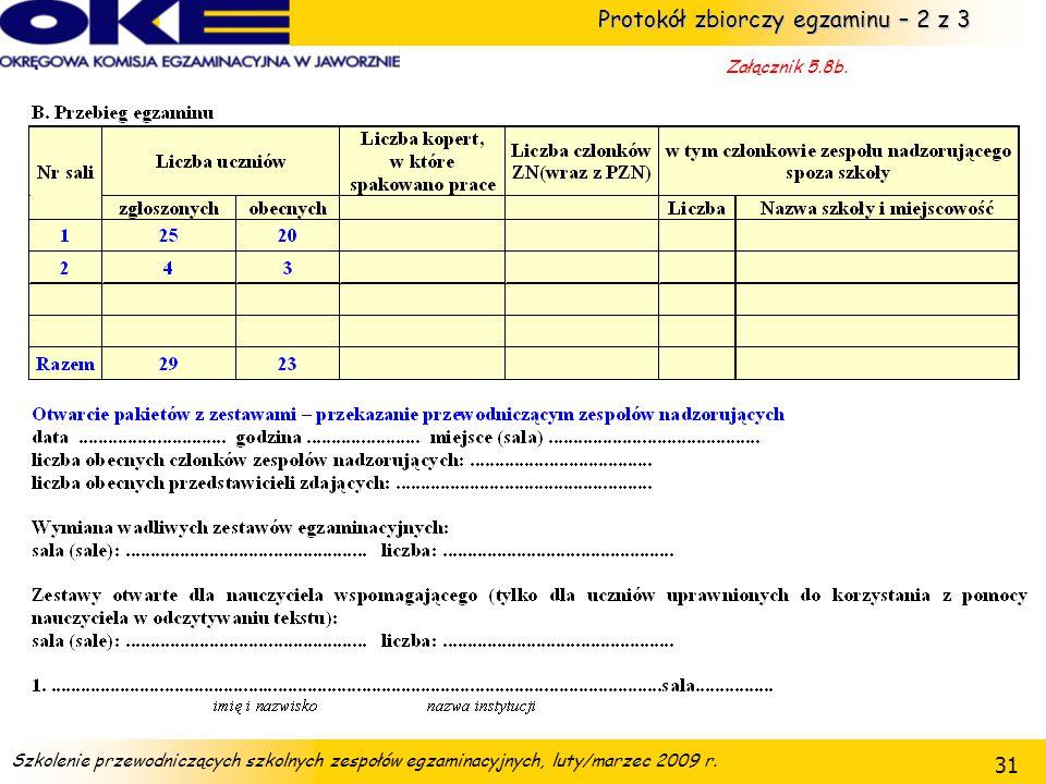 Protokół zbiorczy egzaminu – 2 z 3