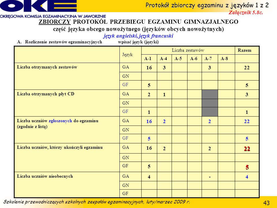 Protokół zbiorczy egzaminu z języków 1 z 2 Załącznik 5.8c.