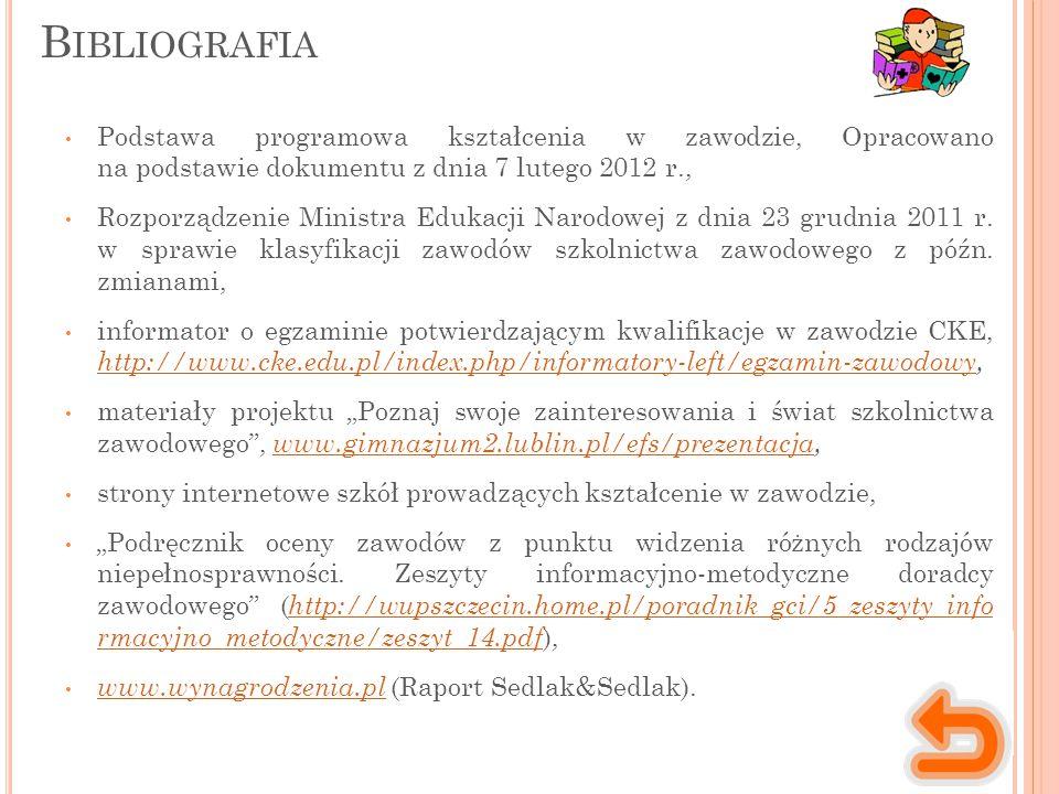 Bibliografia Podstawa programowa kształcenia w zawodzie, Opracowano na podstawie dokumentu z dnia 7 lutego 2012 r.,