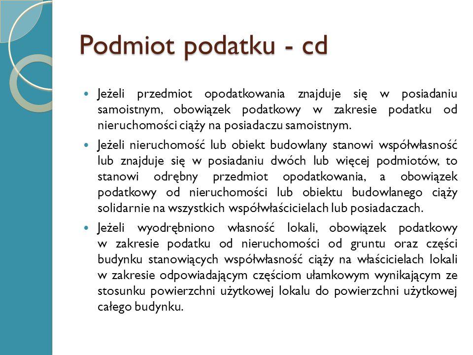 Podmiot podatku - cd