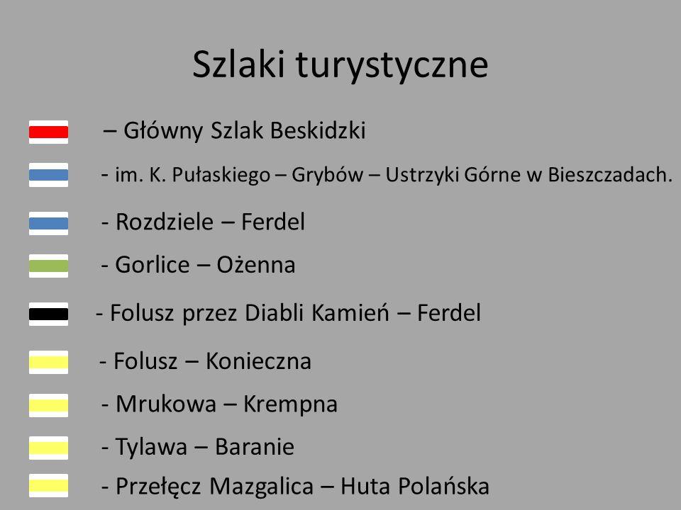 Szlaki turystyczne – Główny Szlak Beskidzki - im. K. Pułaskiego – Grybów – Ustrzyki Górne w Bieszczadach.
