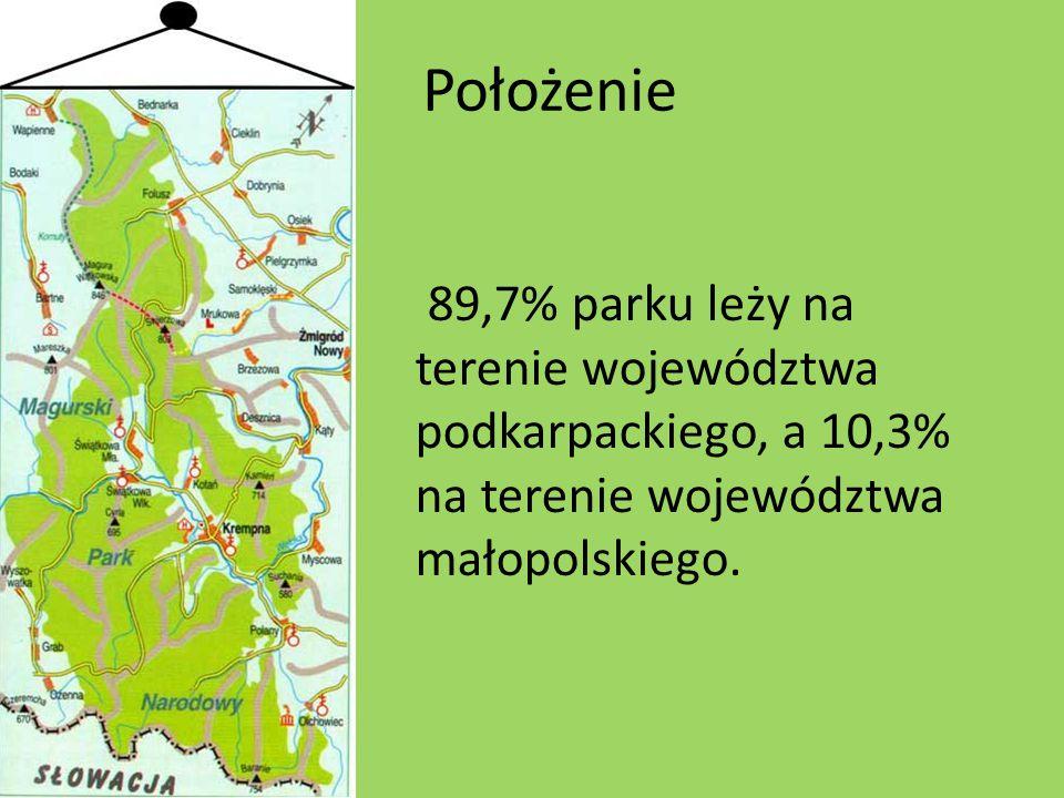 Położenie 89,7% parku leży na terenie województwa podkarpackiego, a 10,3% na terenie województwa małopolskiego.