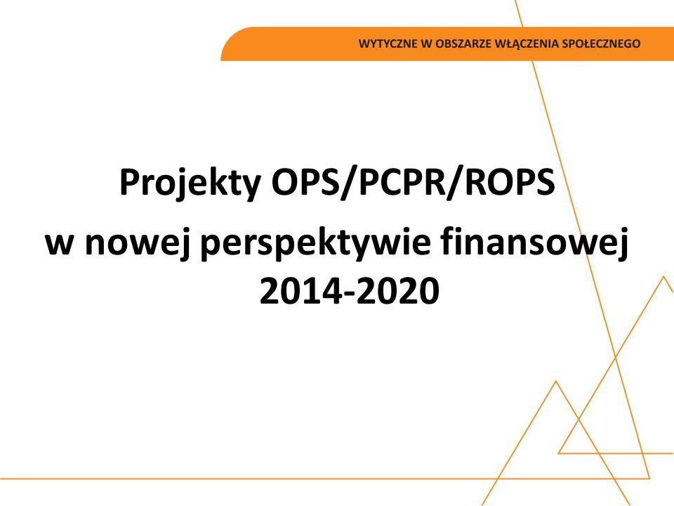 Projekty OPS/PCPR/ROPS w nowej perspektywie finansowej 2014-2020