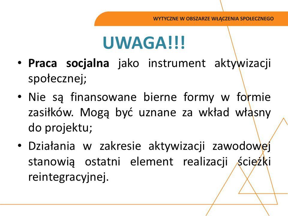 UWAGA!!! Praca socjalna jako instrument aktywizacji społecznej;