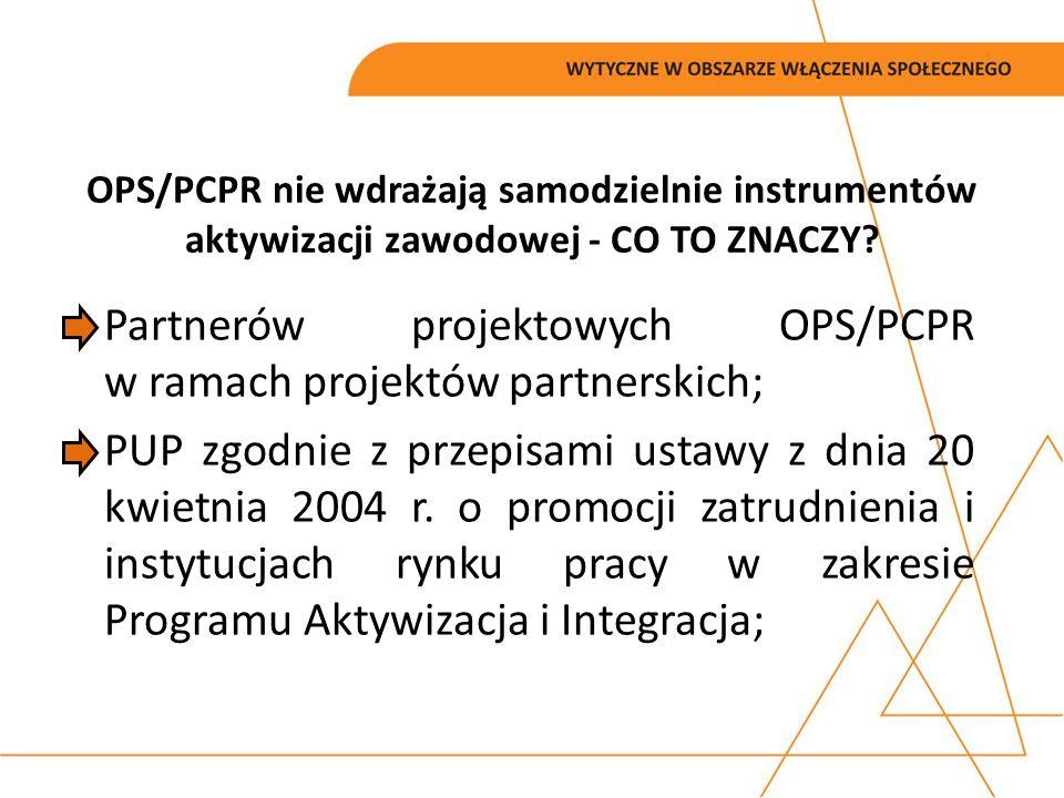 Partnerów projektowych OPS/PCPR w ramach projektów partnerskich;