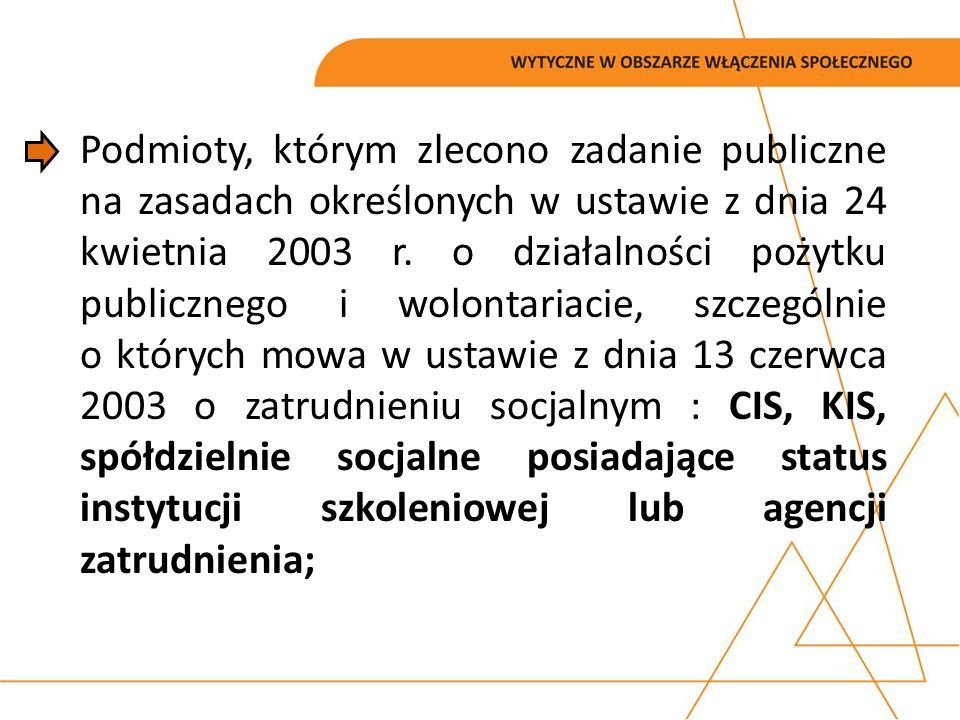 Podmioty, którym zlecono zadanie publiczne na zasadach określonych w ustawie z dnia 24 kwietnia 2003 r.
