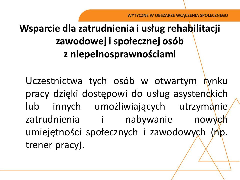 Wsparcie dla zatrudnienia i usług rehabilitacji zawodowej i społecznej osób z niepełnosprawnościami
