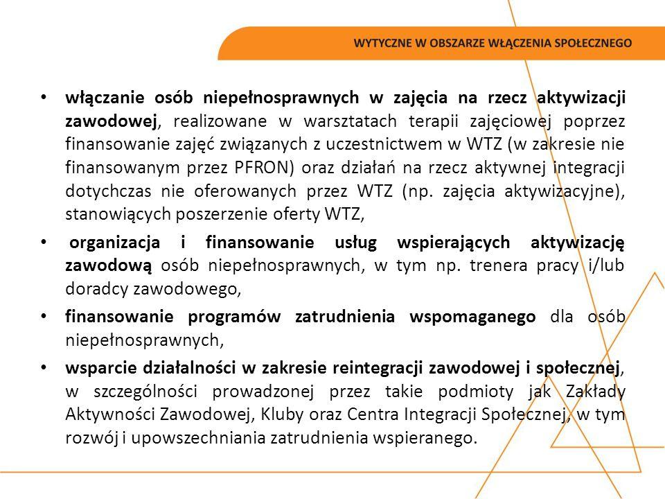 włączanie osób niepełnosprawnych w zajęcia na rzecz aktywizacji zawodowej, realizowane w warsztatach terapii zajęciowej poprzez finansowanie zajęć związanych z uczestnictwem w WTZ (w zakresie nie finansowanym przez PFRON) oraz działań na rzecz aktywnej integracji dotychczas nie oferowanych przez WTZ (np. zajęcia aktywizacyjne), stanowiących poszerzenie oferty WTZ,