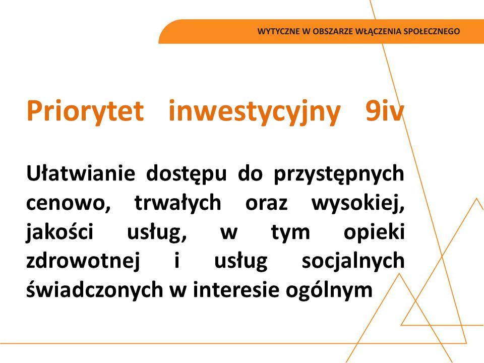 Priorytet inwestycyjny 9iv Ułatwianie dostępu do przystępnych cenowo, trwałych oraz wysokiej, jakości usług, w tym opieki zdrowotnej i usług socjalnych świadczonych w interesie ogólnym