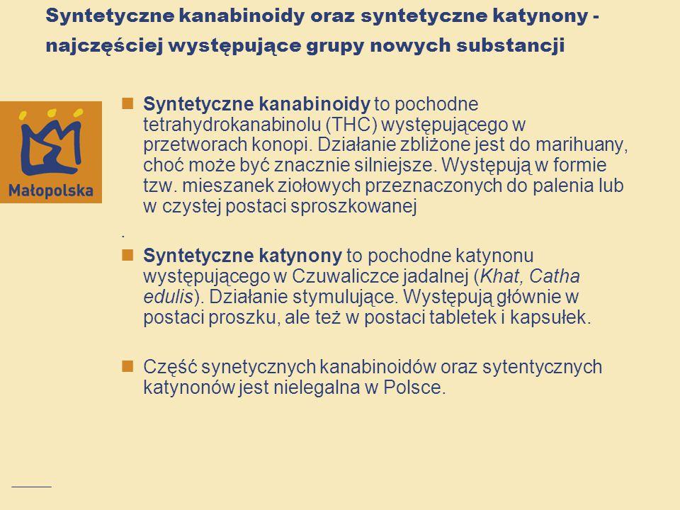 Syntetyczne kanabinoidy oraz syntetyczne katynony - najczęściej występujące grupy nowych substancji