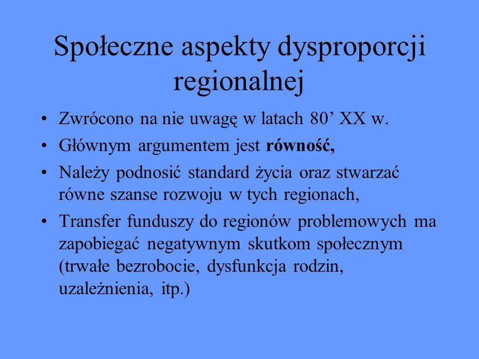 Społeczne aspekty dysproporcji regionalnej