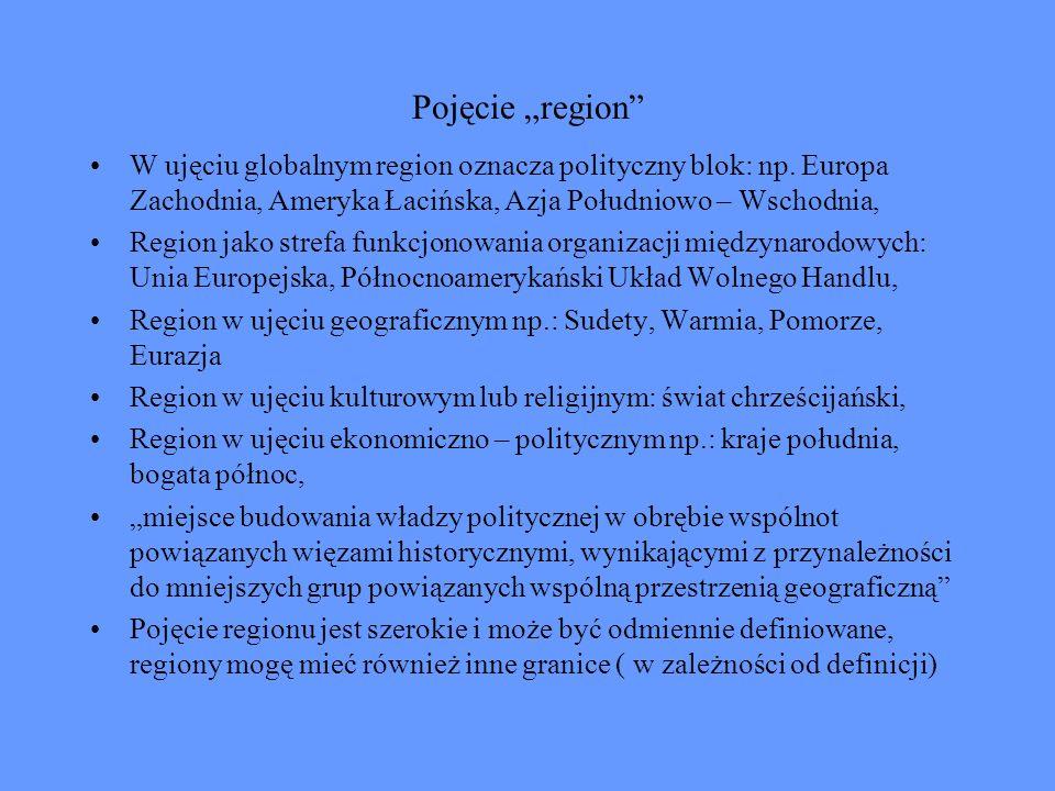 """Pojęcie """"region W ujęciu globalnym region oznacza polityczny blok: np. Europa Zachodnia, Ameryka Łacińska, Azja Południowo – Wschodnia,"""