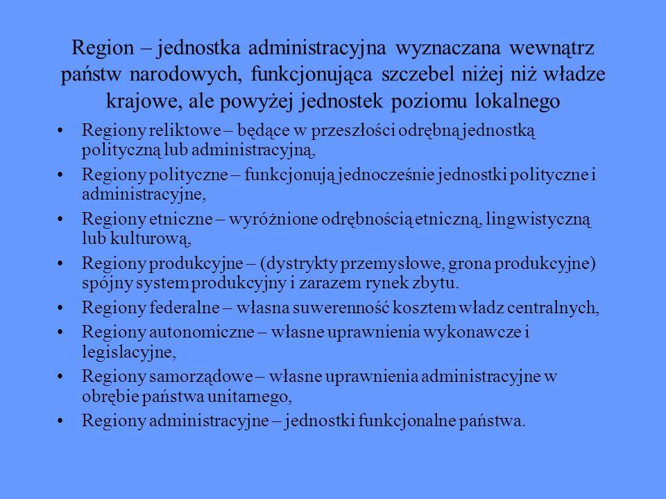 Region – jednostka administracyjna wyznaczana wewnątrz państw narodowych, funkcjonująca szczebel niżej niż władze krajowe, ale powyżej jednostek poziomu lokalnego