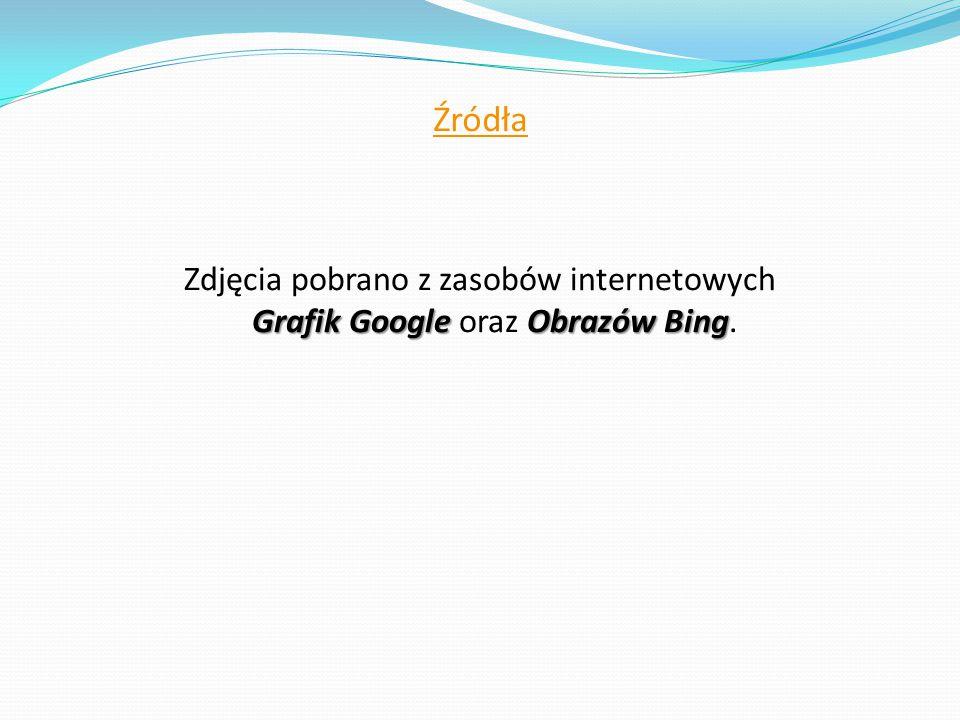 Źródła Zdjęcia pobrano z zasobów internetowych Grafik Google oraz Obrazów Bing.