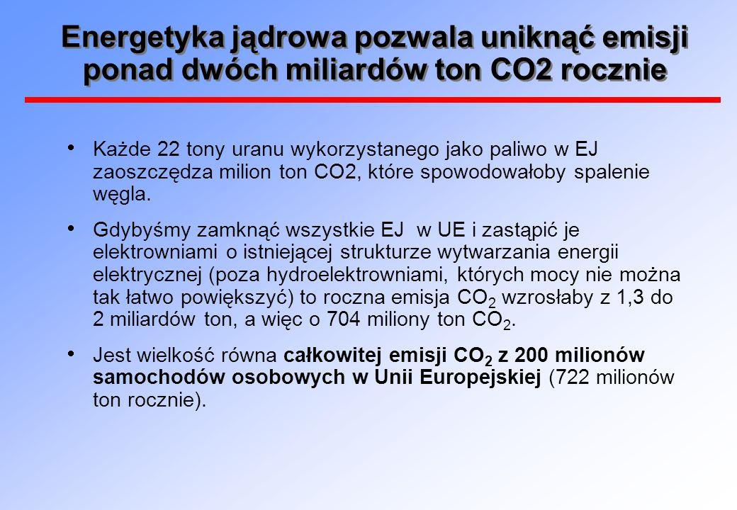 Energetyka jądrowa pozwala uniknąć emisji ponad dwóch miliardów ton CO2 rocznie
