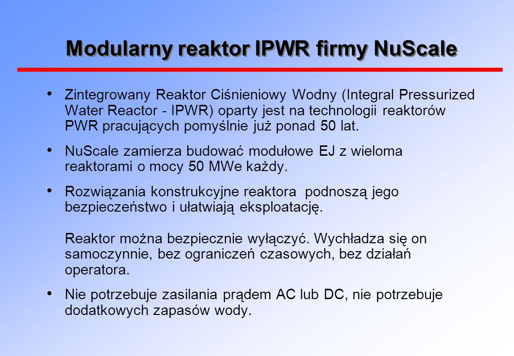 Modularny reaktor IPWR firmy NuScale