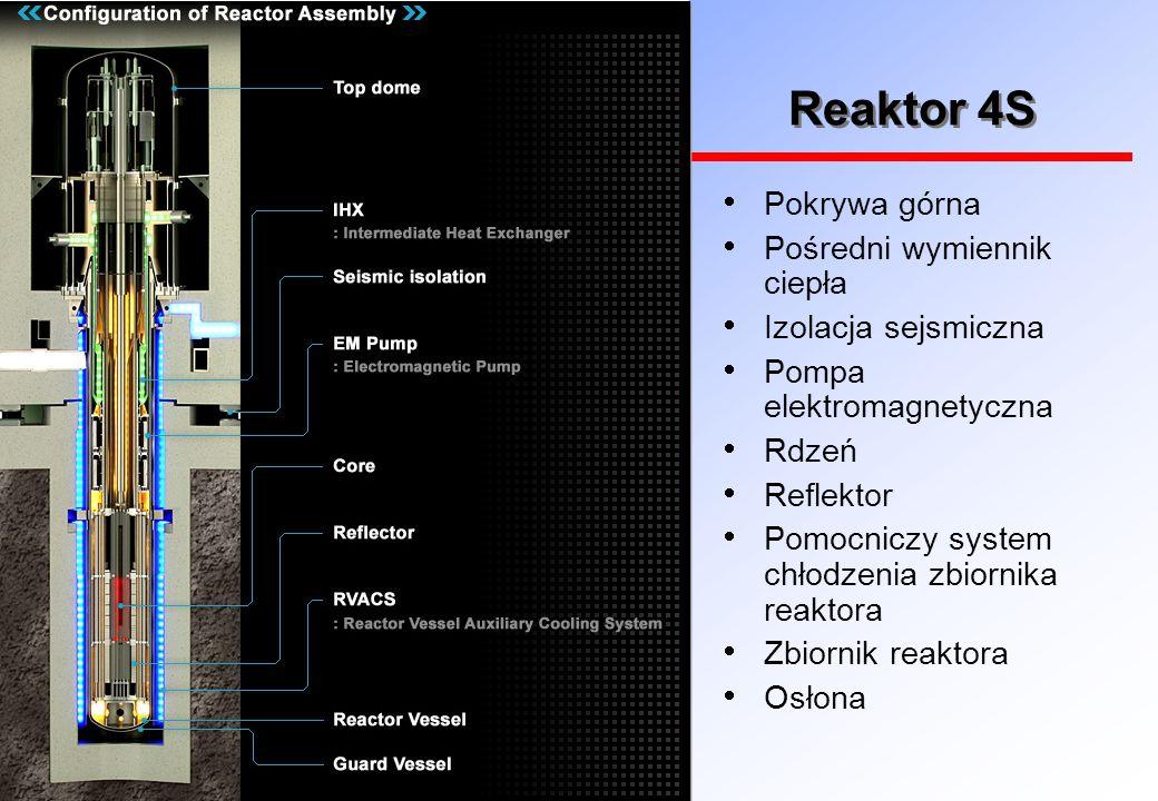 Reaktor 4S Pokrywa górna Pośredni wymiennik ciepła Izolacja sejsmiczna