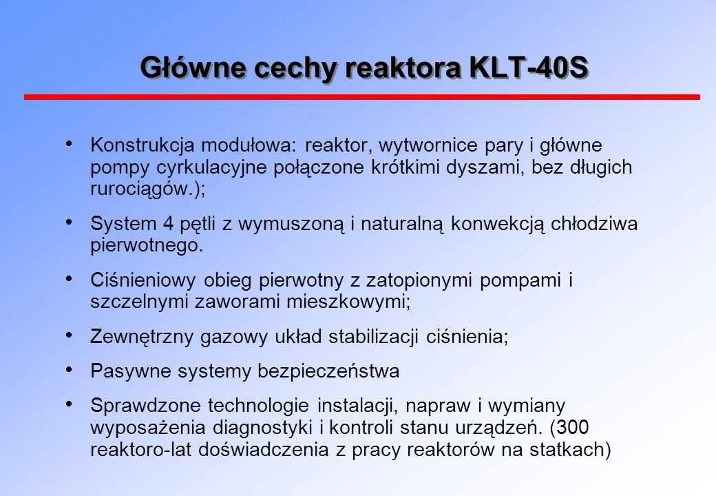 Główne cechy reaktora KLT-40S