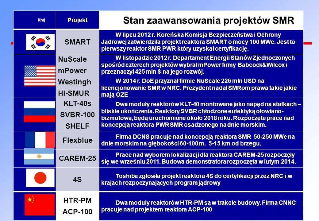 Stan zaawansowania projektów SMR