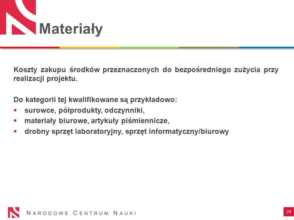 Materiały Koszty zakupu środków przeznaczonych do bezpośredniego zużycia przy realizacji projektu. Do kategorii tej kwalifikowane są przykładowo: