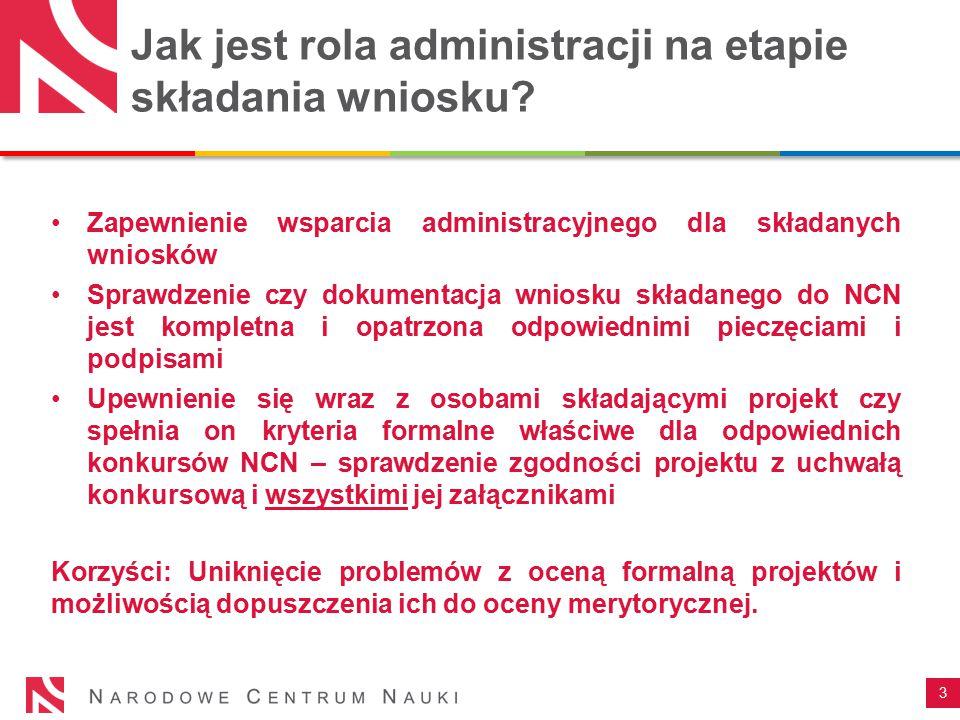 Jak jest rola administracji na etapie składania wniosku