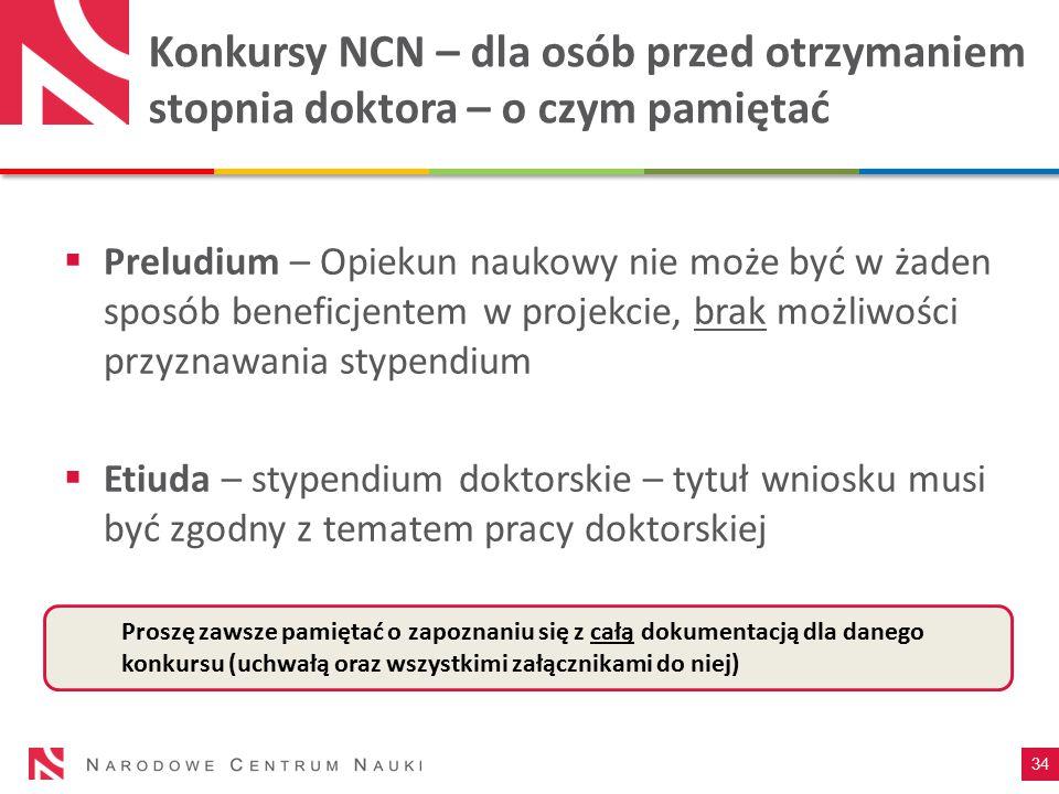 Konkursy NCN – dla osób przed otrzymaniem stopnia doktora – o czym pamiętać