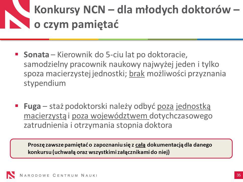 Konkursy NCN – dla młodych doktorów – o czym pamiętać