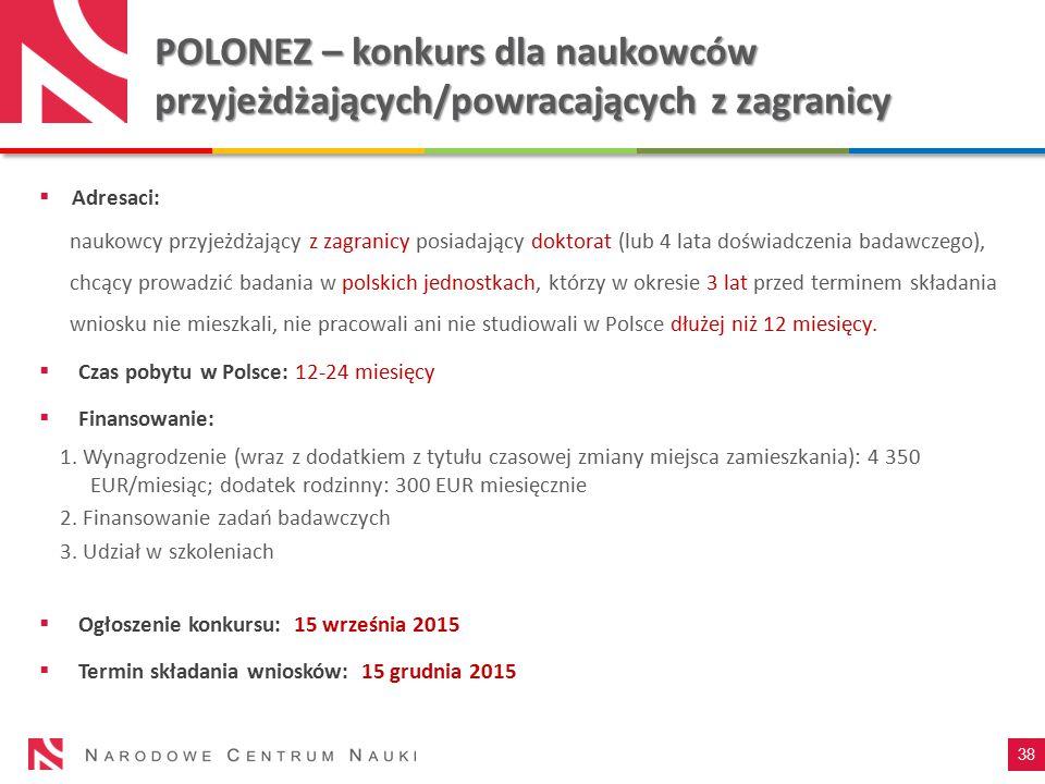 POLONEZ – konkurs dla naukowców przyjeżdżających/powracających z zagranicy
