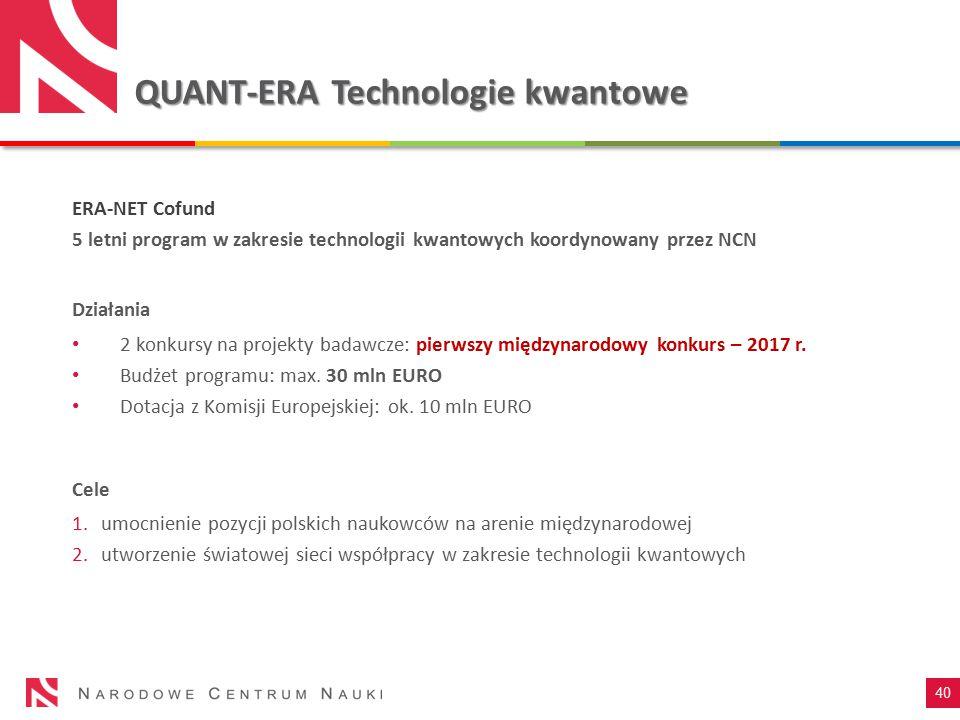QUANT-ERA Technologie kwantowe