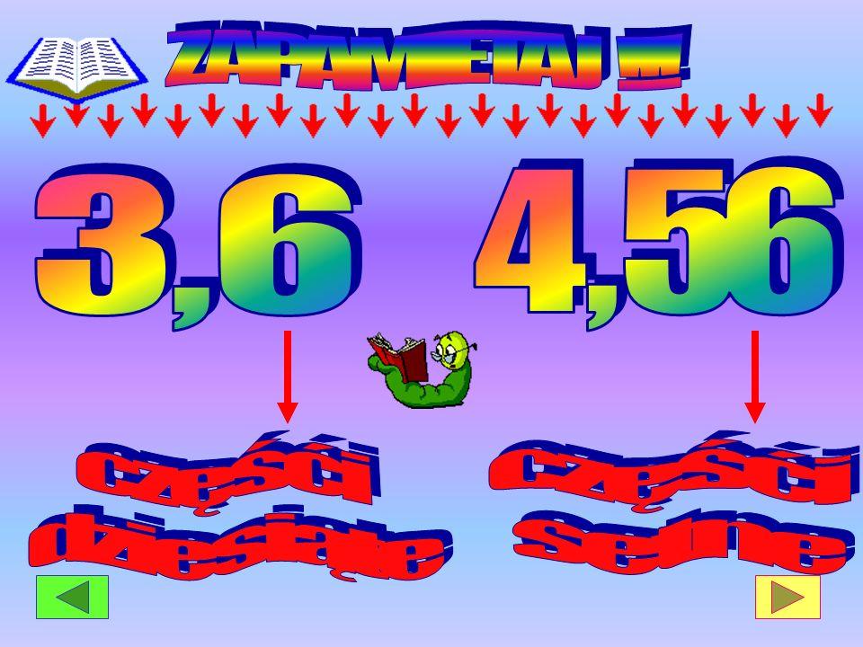 ZAPAMIETAJ !!! 4 , 56 3 , 6 częśći dziesiąte częśći setne