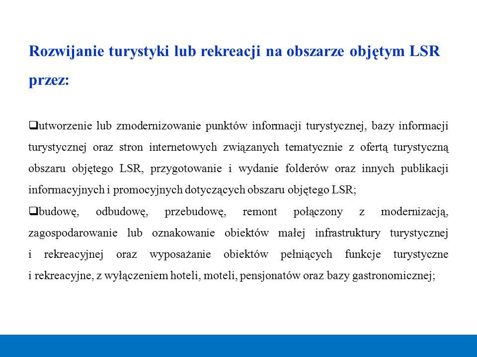 Rozwijanie turystyki lub rekreacji na obszarze objętym LSR przez: