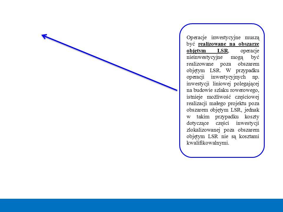 Operacje inwestycyjne muszą być realizowane na obszarze objętym LSR, operacje nieinwestycyjne mogą być realizowane poza obszarem objętym LSR.