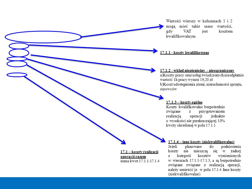 Wartości wierszy w kolumnach 1 i 2 mogą mieć takie same wartości, gdy VAT jest kosztem kwalifikowalnym.