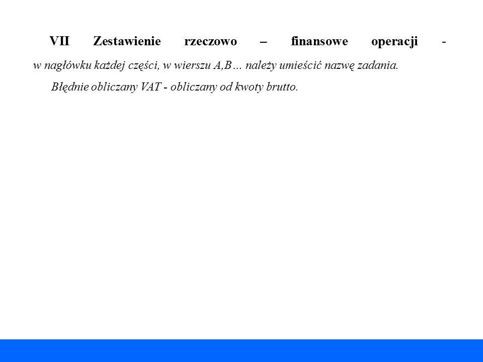 VII Zestawienie rzeczowo – finansowe operacji - w nagłówku każdej części, w wierszu A,B… należy umieścić nazwę zadania.