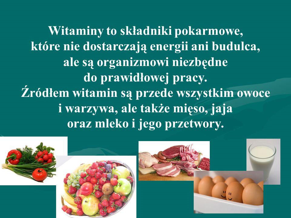 Witaminy to składniki pokarmowe,