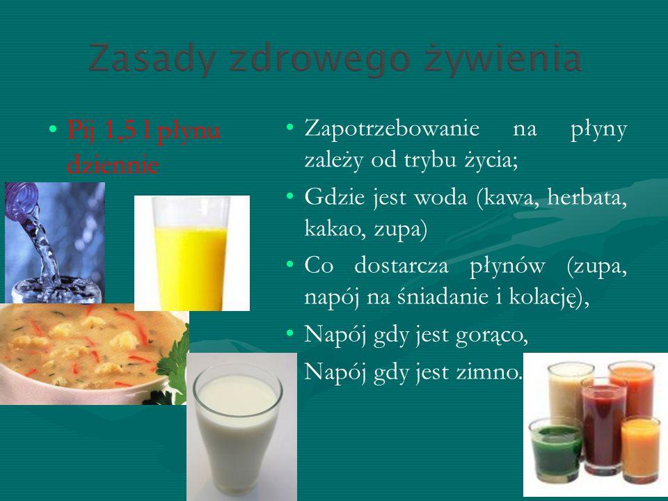 Pij 1,5 l płynu dziennie Zapotrzebowanie na płyny zależy od trybu życia; Gdzie jest woda (kawa, herbata, kakao, zupa)