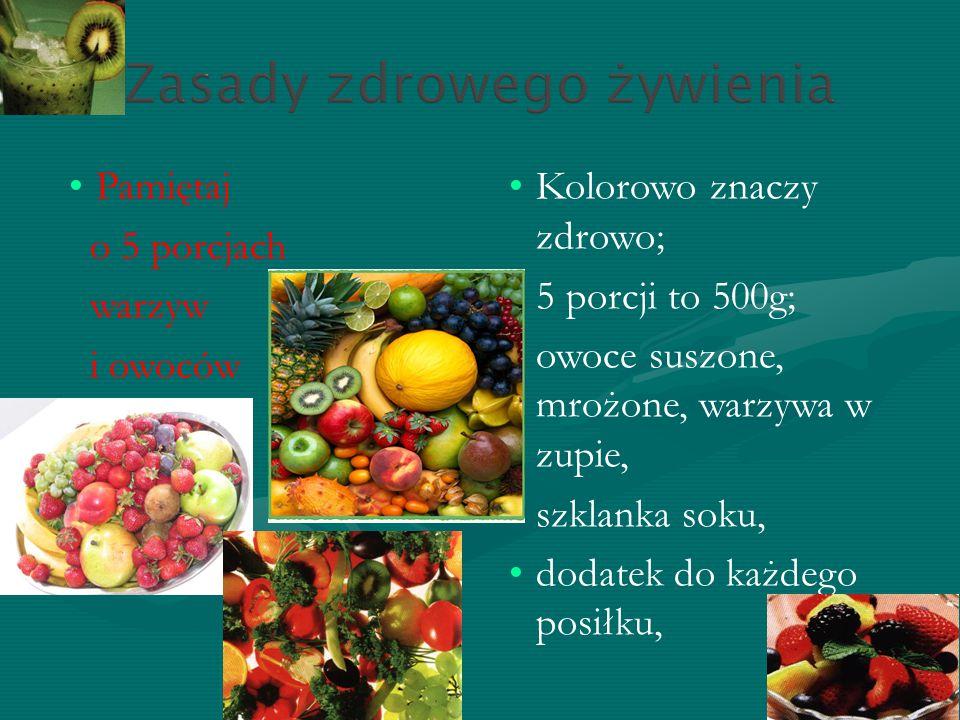 Pamiętaj o 5 porcjach. warzyw. i owoców. dziennie. Kolorowo znaczy zdrowo; 5 porcji to 500g; owoce suszone, mrożone, warzywa w zupie,