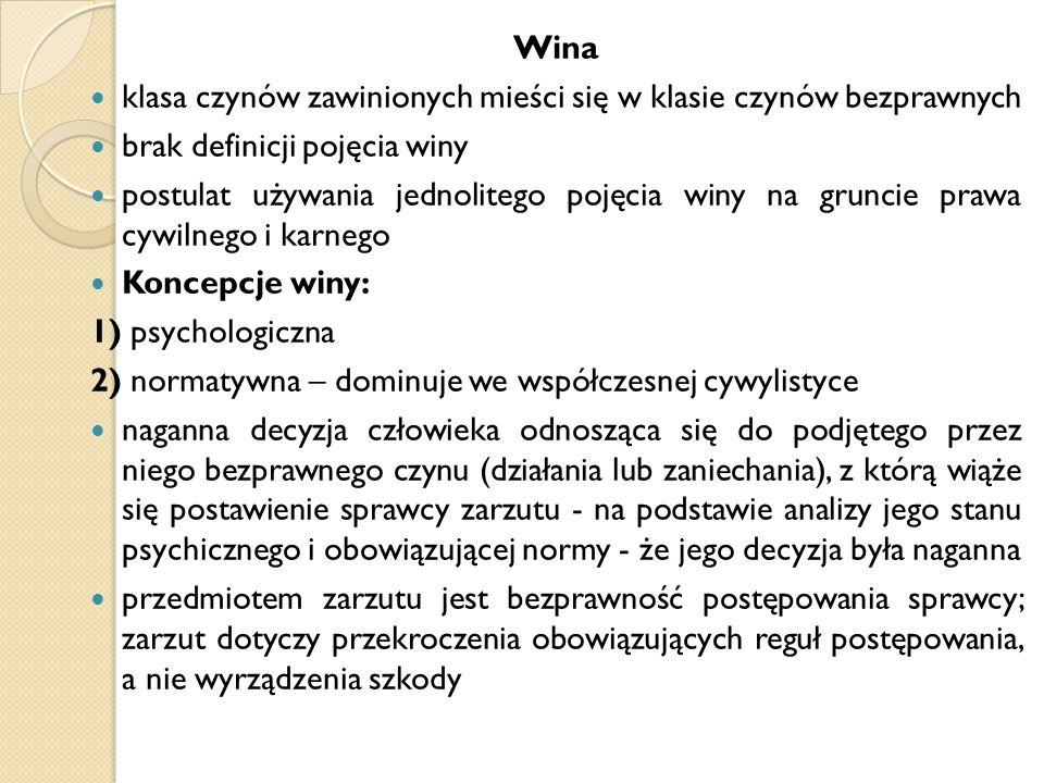 Wina klasa czynów zawinionych mieści się w klasie czynów bezprawnych. brak definicji pojęcia winy.
