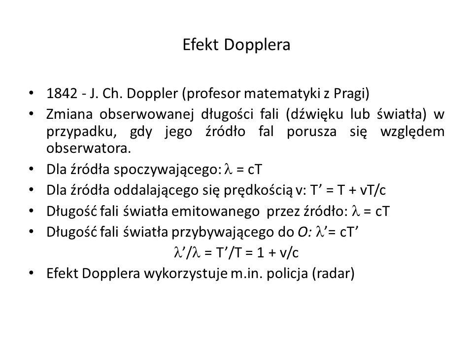 Efekt Dopplera 1842 - J. Ch. Doppler (profesor matematyki z Pragi)