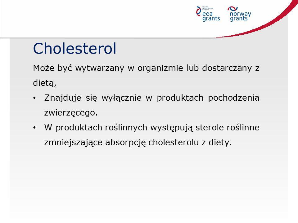 Cholesterol Może być wytwarzany w organizmie lub dostarczany z dietą,