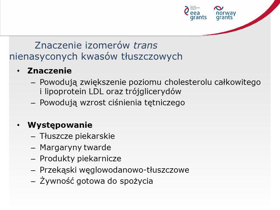 Znaczenie izomerów trans nienasyconych kwasów tłuszczowych