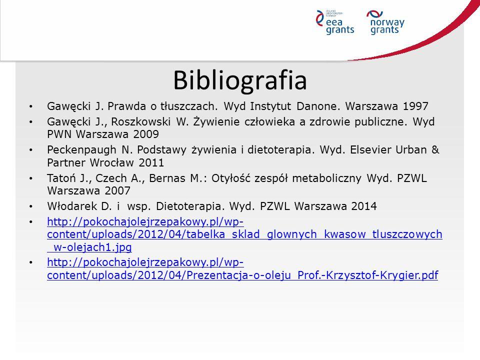 Bibliografia Gawęcki J. Prawda o tłuszczach. Wyd Instytut Danone. Warszawa 1997.