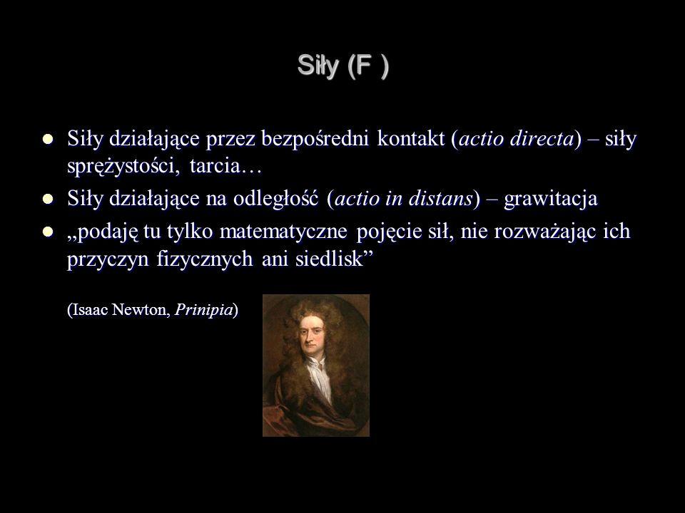 Siły (F ) Siły działające przez bezpośredni kontakt (actio directa) – siły sprężystości, tarcia…
