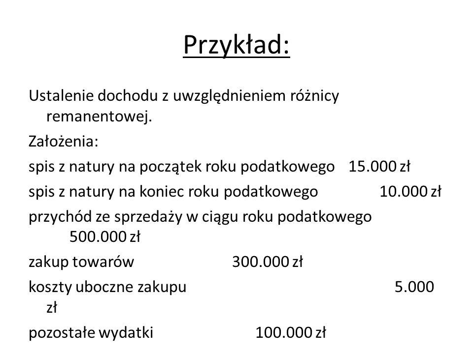 Przykład: Ustalenie dochodu z uwzględnieniem różnicy remanentowej.