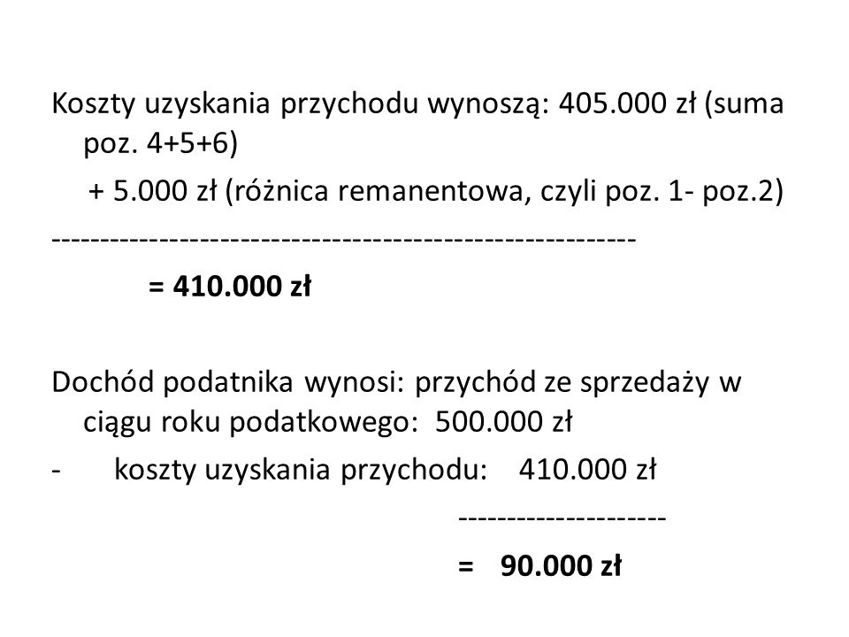 Koszty uzyskania przychodu wynoszą: 405.000 zł (suma poz. 4+5+6)