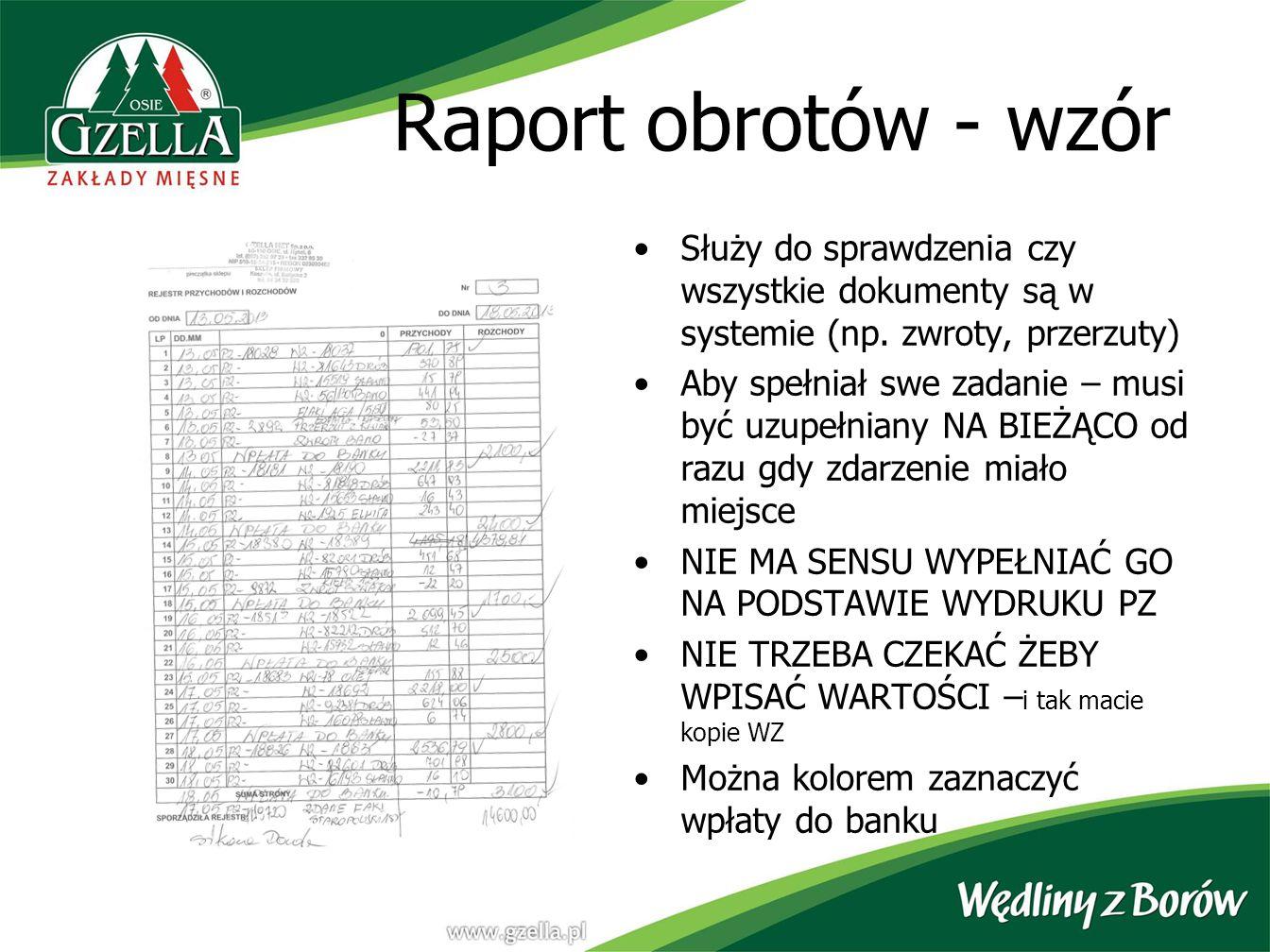 Raport obrotów - wzór Służy do sprawdzenia czy wszystkie dokumenty są w systemie (np. zwroty, przerzuty)