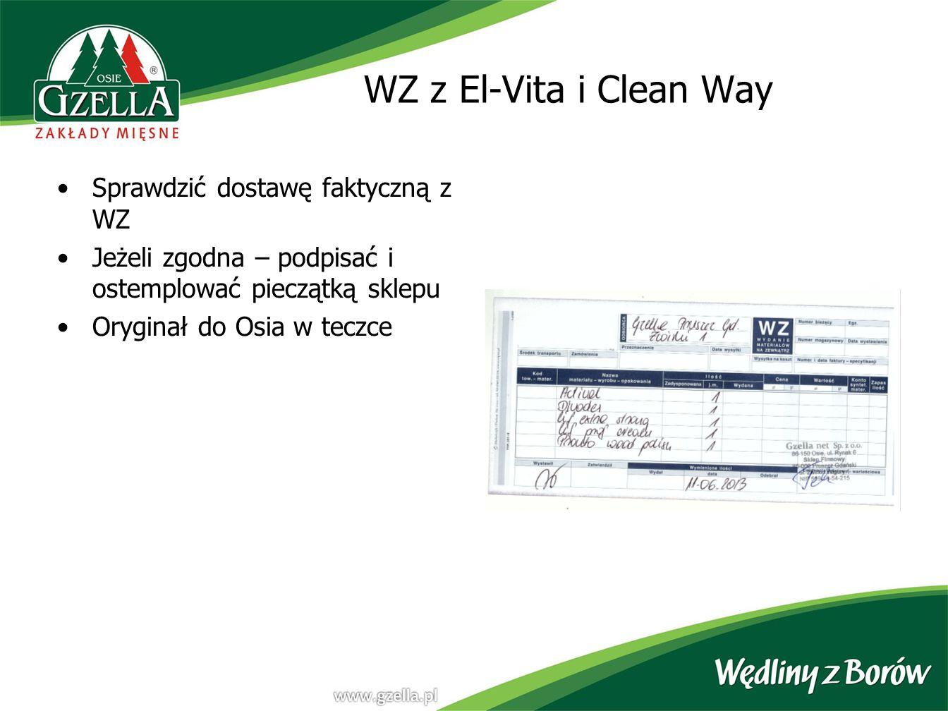 WZ z El-Vita i Clean Way Sprawdzić dostawę faktyczną z WZ
