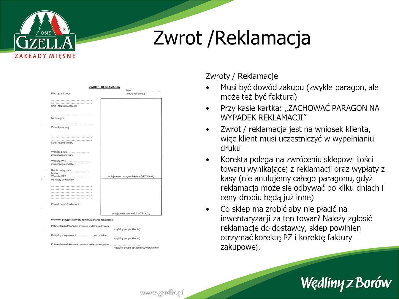 Zwrot /Reklamacja Zwroty / Reklamacje